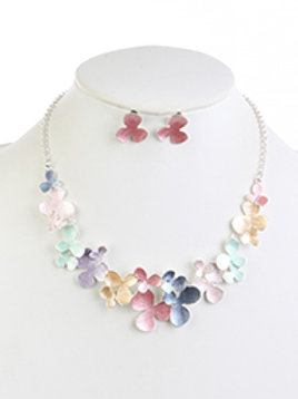METAL FLOWER EPOXY COATING NECKLACE AND EARRING SET