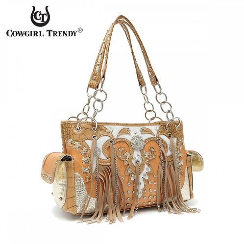 Natural Fringes And Stones' Chain Handbag With Wallet