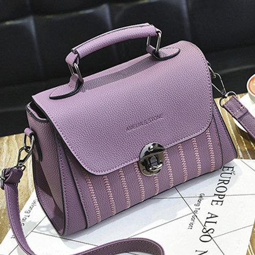 Women's Purple Stitch Embellished Flap Bag - Pebble Embossed Design