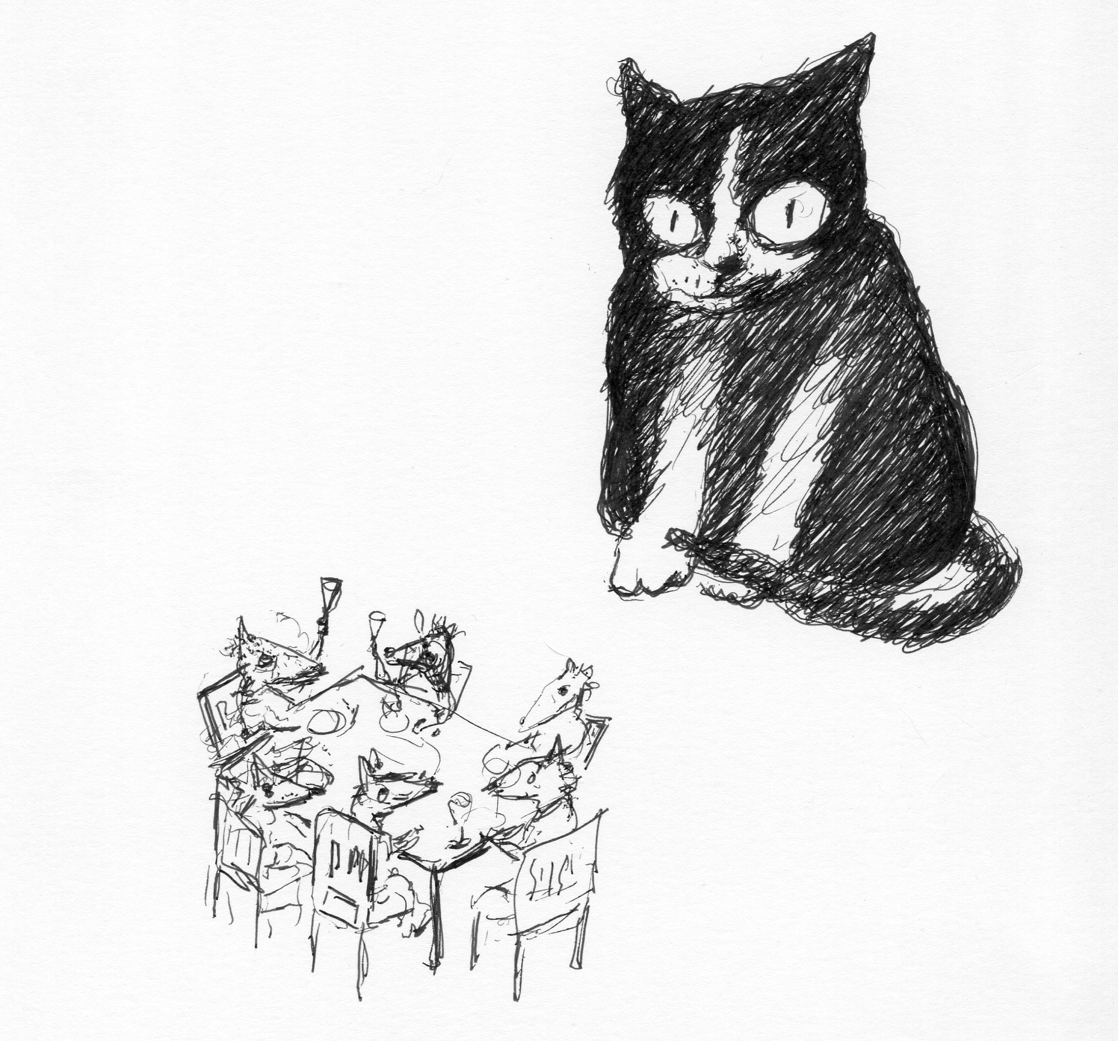 cat and rats dining