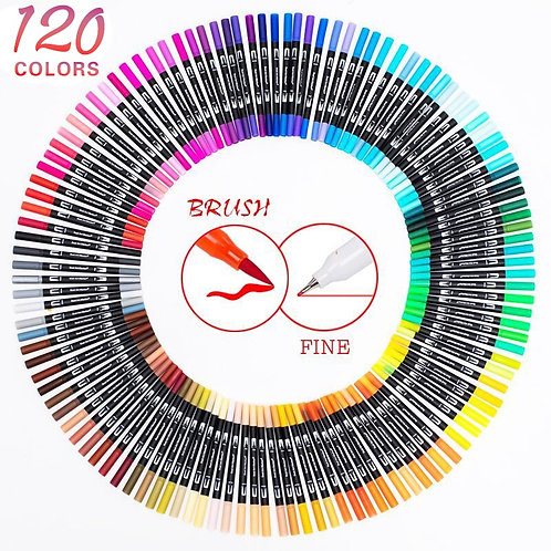 120 Color Dual Brush Art Markers Pens Fine Tip and Brush Tip