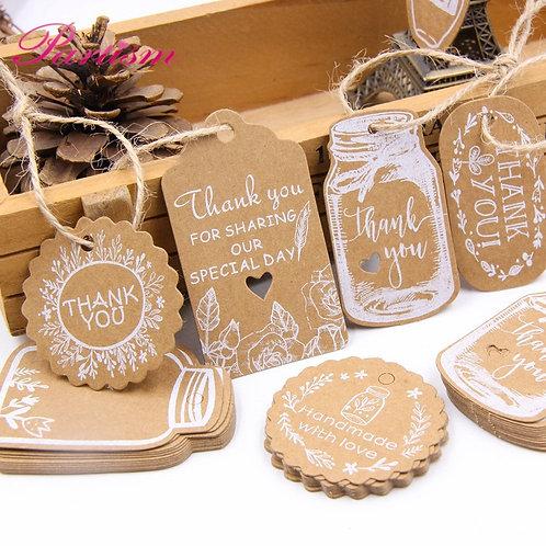 50PCS Kraft Paper Tags DIY Handmade/Thank You Multi Style Crafts Hang Tag