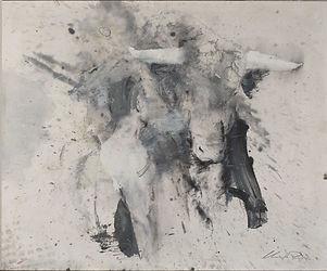 17 Torero con toro incontro - grafite e olio su carta - 55x65 cm - 2019.jpg