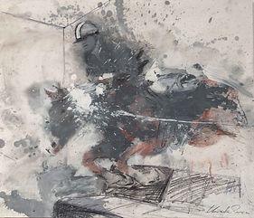 21 Salto cavallo su divano  —  grafite e olio su carta applicata su lastra alluminio (45x5