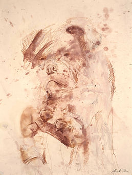 TRE BOXER 2019 | Red chalk and oil on paper | 27.6 x 21.7 in Price:  € 1,200  (VAT included)