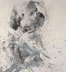 14 Donna con cane - grafite e olio su carta - 65x50 cm - 2019.jpg