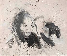 6 Ragazza con toro Grafite e olio su carta applicata su lastra di alluminio, 40 x 48 cm 20