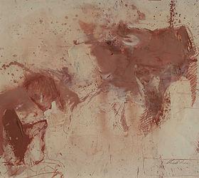 1 Torero con toro - sanguigna e olio su carta - 45x55 cm - 2019.jpg