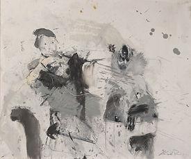 19 Uomo con babbuino - grafite e olio su carta - 45x55 cm - 2019.jpg