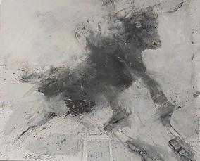 20 Toro su sedia con torero - grafite e olio su carta - 40x50 cm - 2019.jpg