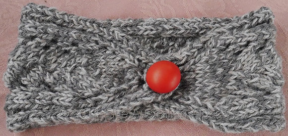 HB01 - Head Band with Button - Tweed  Grey