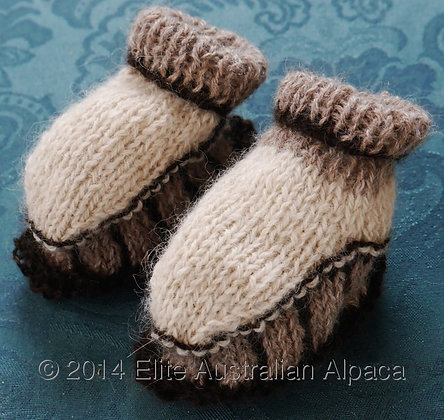 BS17 - Striped Baby Bootie - Brown+White