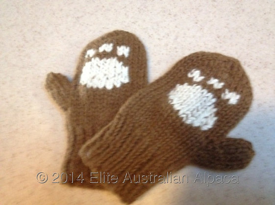 BS14 - Baby Bear Gloves - Brown+White