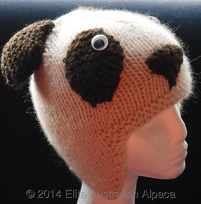 HT07 - Panda Bear Beanie - White/DK Brown