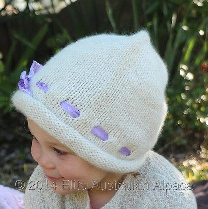 BS12 - Child's Ribbon Bonnet - Cream
