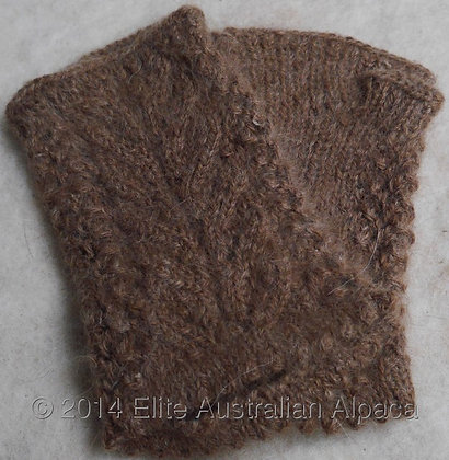 GL04 - Feather Fingerless Gloves - Brown - M