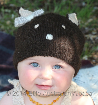 BS11 - Kitty Cat Child Hat - Dark Brown and Cream