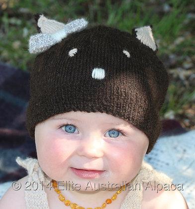 BS11 - Kitty Cat Child Hat - Dark Brown and Cream
