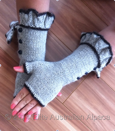 GL02 - Audrey Style Fingerless Gloves- Grey+Brown