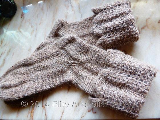 LW04 - Fancy Cuffed Socks - Light Grey