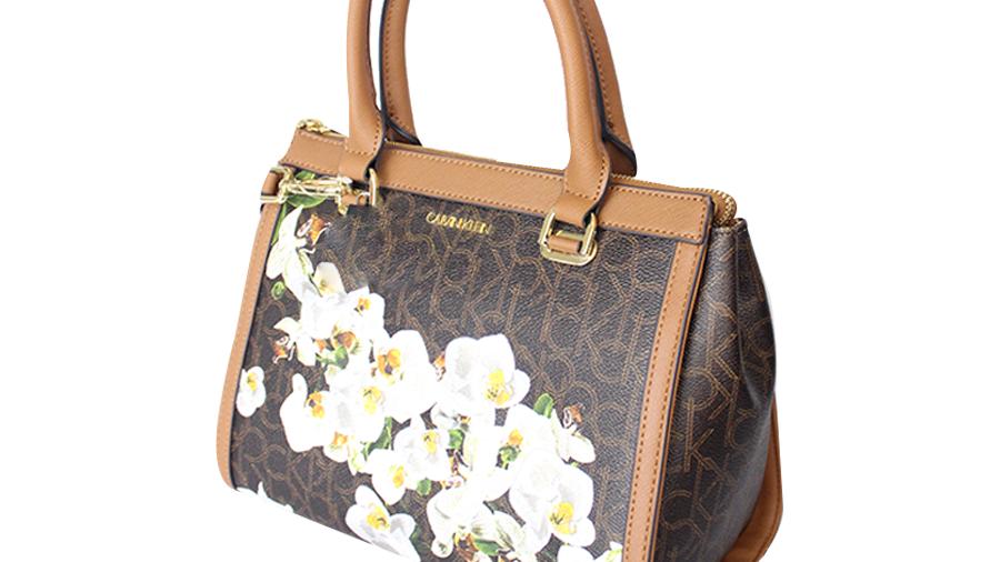 Calvin Klein bolsa color café con bordado flores