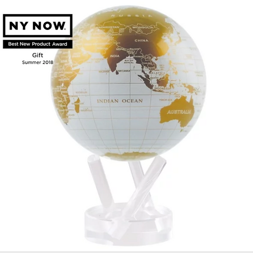 White and Gold Rotating Globe