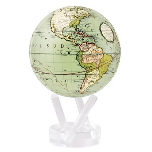 Terrestrial Green Rotating Globe