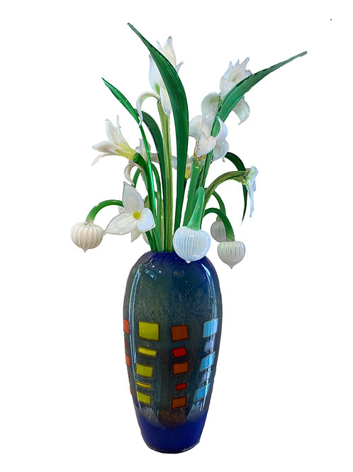 Chris Belleau, Mondrian Egg Vase in Blue