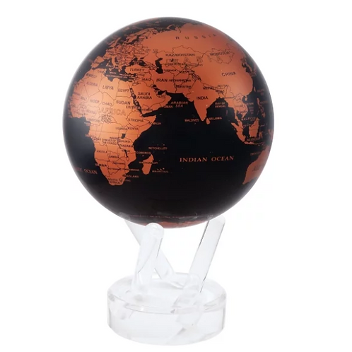 Black and Copper Rotating Globe