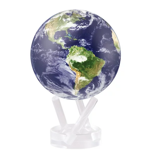 Satellite View with Clouds Rotating Globe