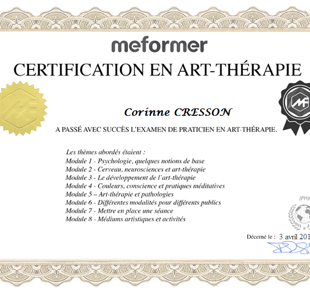Certificat Formation Art-Thérapie Co MA.