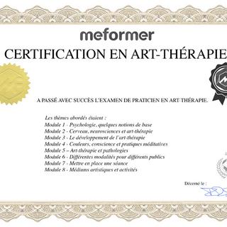 Certificat Art-Thérapeute corinne cresson - Mass'angel - ardèche 07