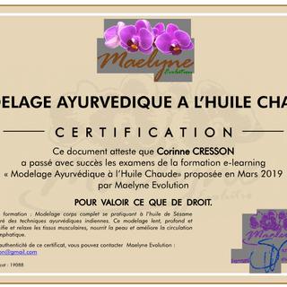 Certificat modelage Ayurvédique à l'huile chaude - corinne cresson - Mass'angel - ardèche 07