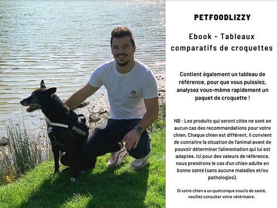 EBOOK / Tableaux comparatifs de croquettes + Tableau de référence