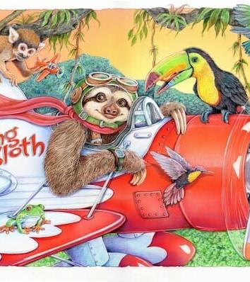 Slying Sloth Illustration
