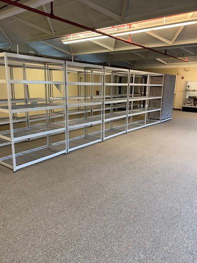 Setting up the shelves.