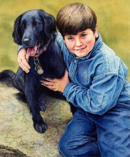 Flat-coated Retriever Watercolor