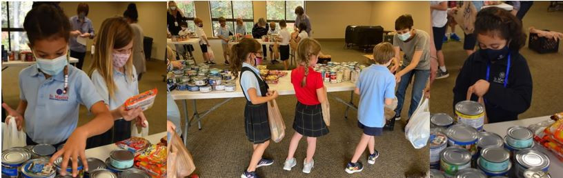 Students from St. Martins School packing bags.
