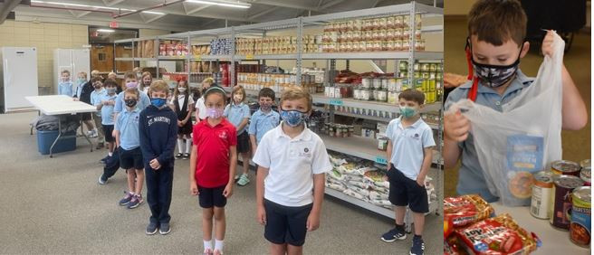 Students from St. Martins School tour the pantry.