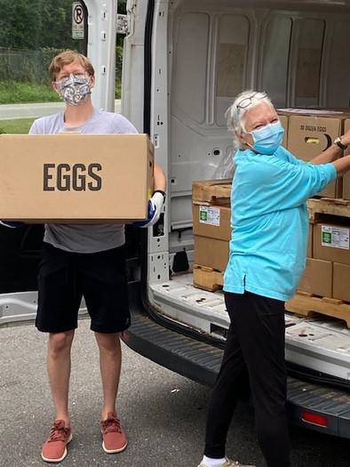 Unloading the eggs.
