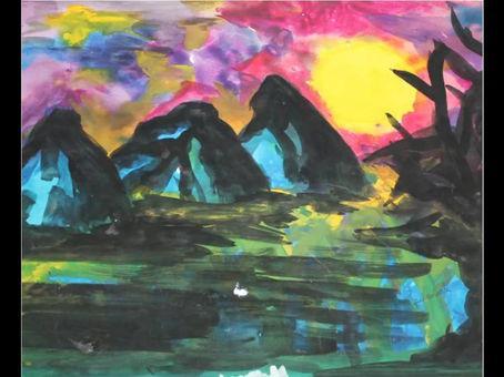 Tramonto (1997); acrilico su carta, 35x50 cm