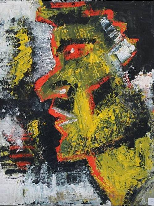 """""""Testa di uomo"""" (1995/97), tecnica mista su tela, 50x60 cm"""