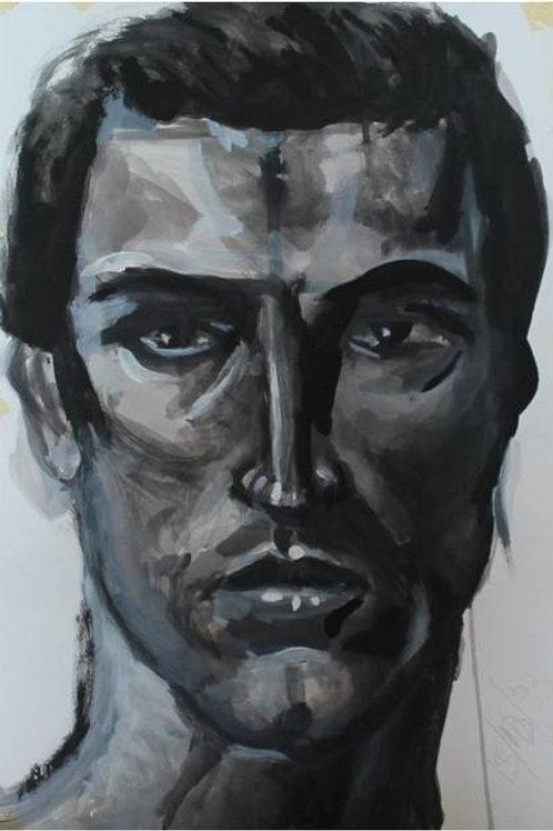 """""""Testa di uomo"""" (1993); acrilico su carta, 48x33 cm"""