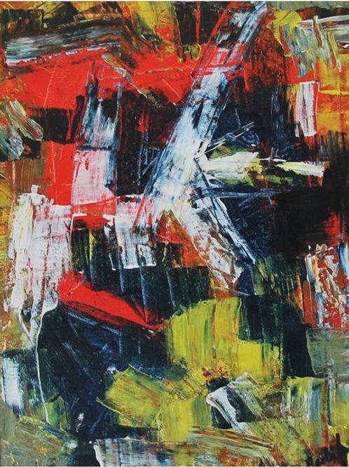 """""""Scontro di situazioni"""" (1995/1997); acrilico su tela, 40x60 cm"""