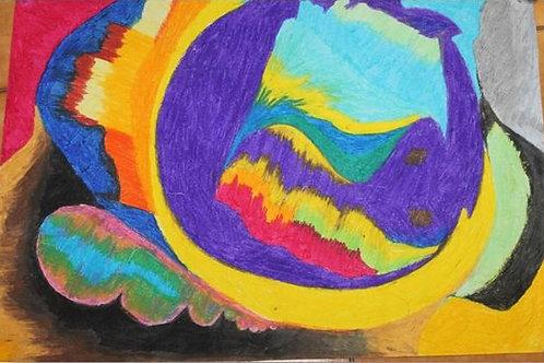"""""""La ruota della felicità"""" (2014); pastelli ad olio su carta"""