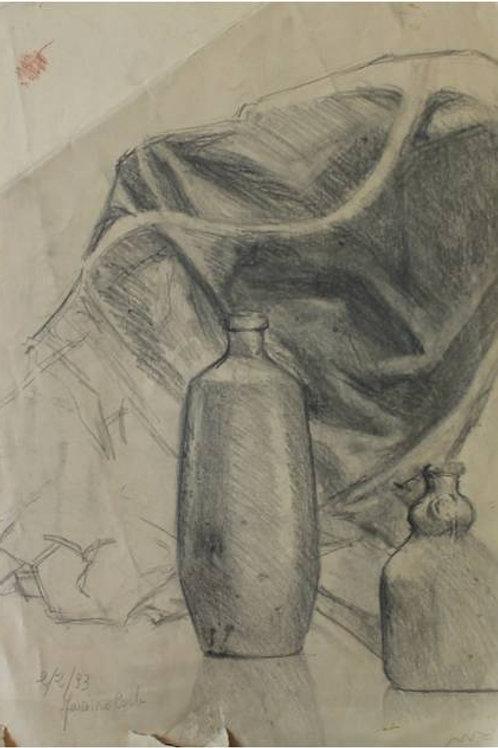 """""""Natura morta"""" (1993); carboncino su carta, 50x35 cm"""