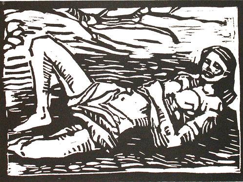 """Ragazza sdraiata"" (1995/96); xilografia, 16x23 cm"