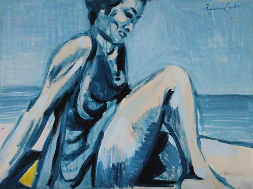 Autoritratto in spiaggia (1997); acrilico su tela, 50x60 cm