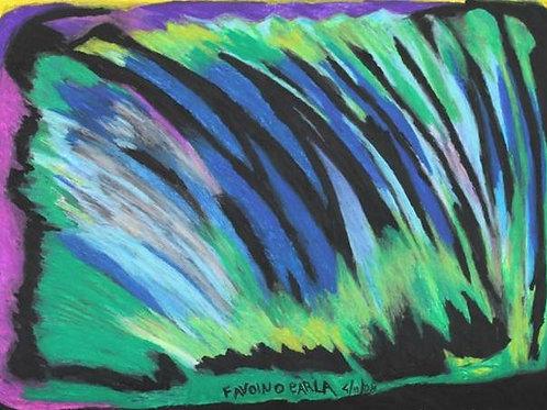 Piume di struzzo (2008); pastelli ad olio su carta, 50x70 cm
