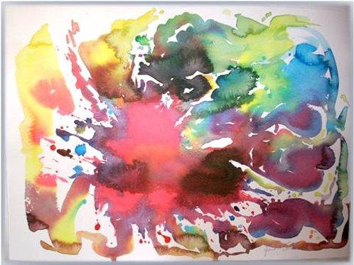 """Nuvola2"" (2008); acrilico su carta, 50x35 cm"